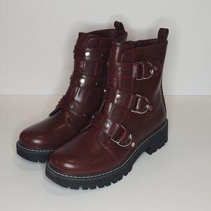 SO Cichlids Women's Combat Boots Wine Color